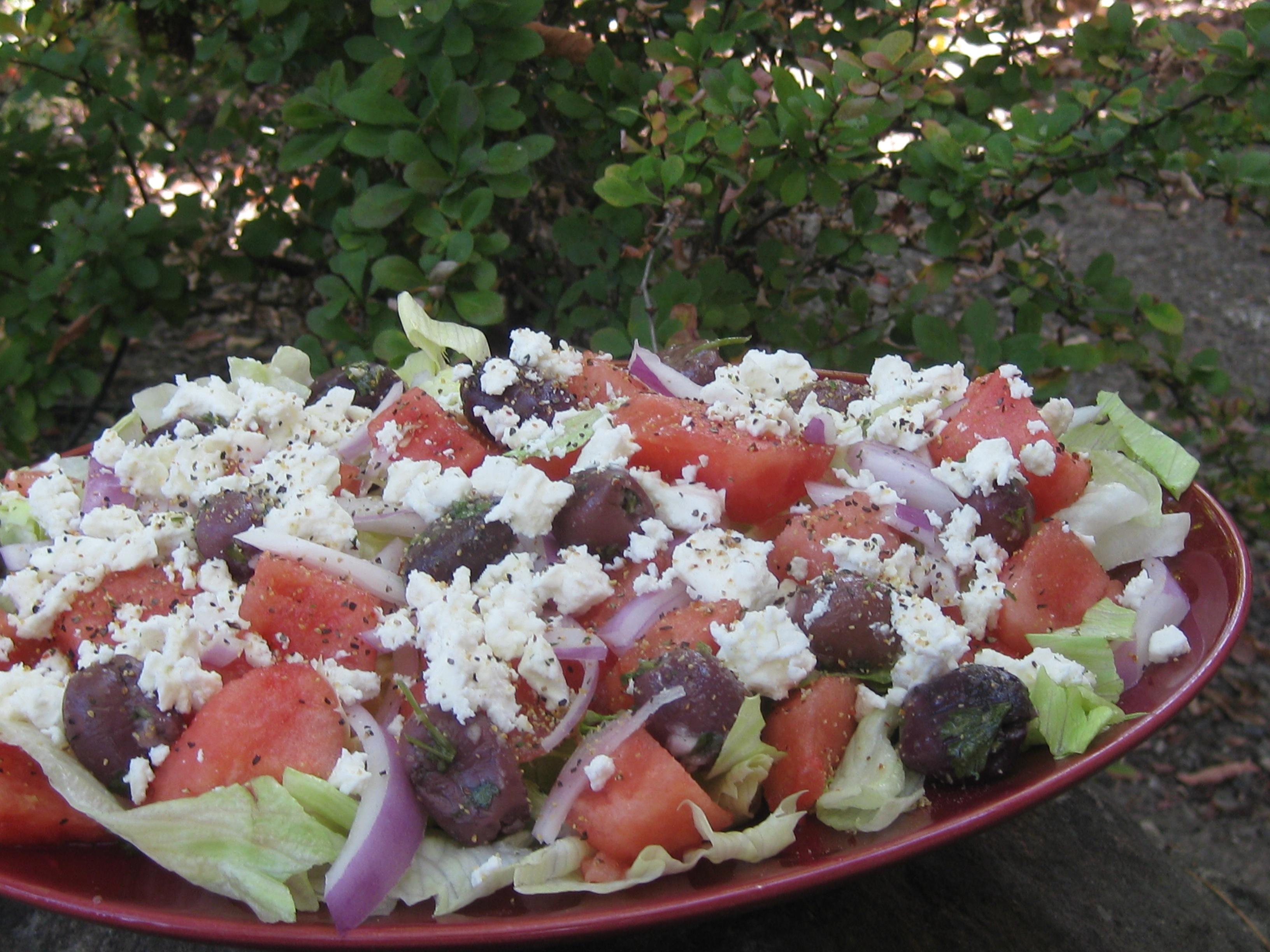 Mediterranean Watermelon Salad with Watermelon Vinaigrette