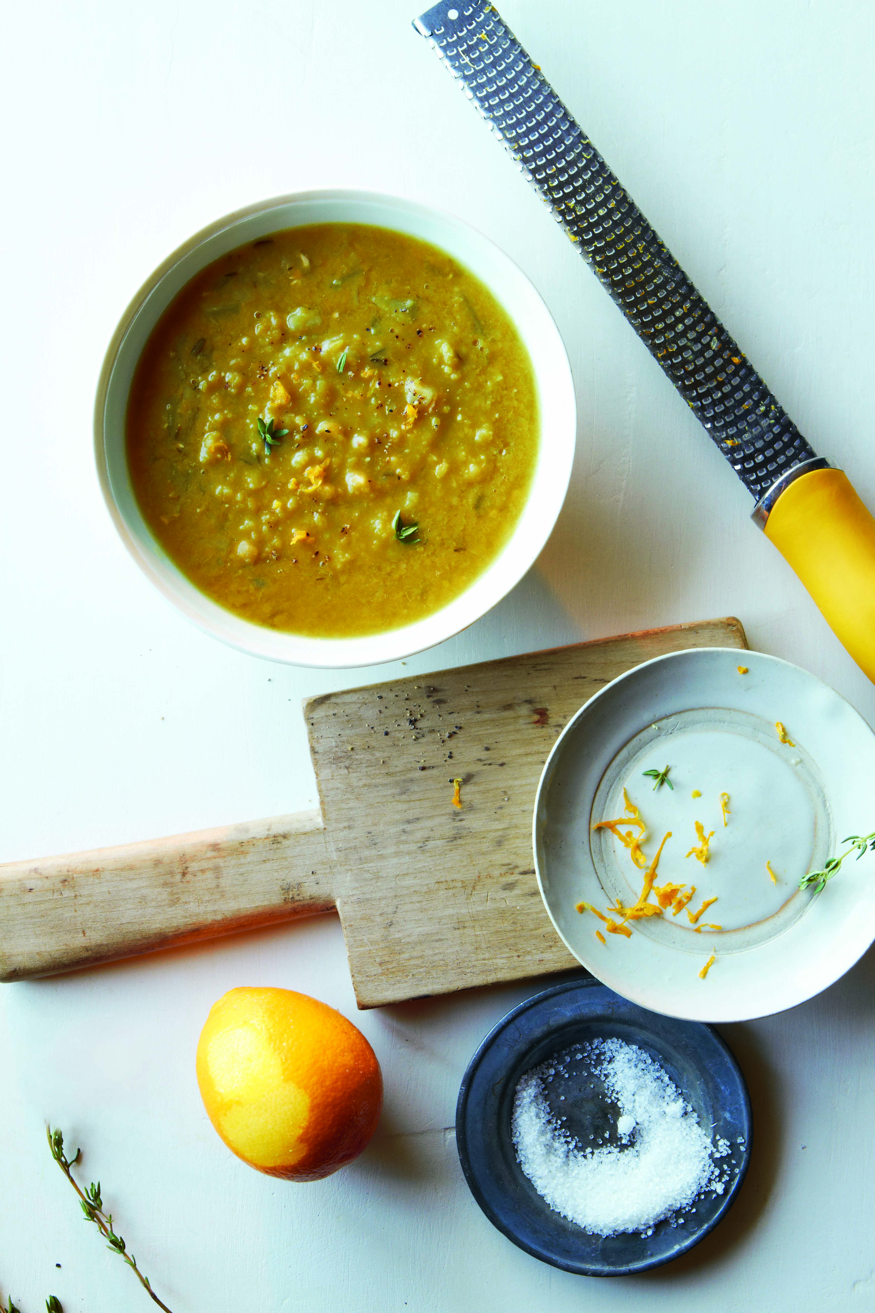 Creamy Split Pea Soup with Meyer Lemon Zest and Thyme