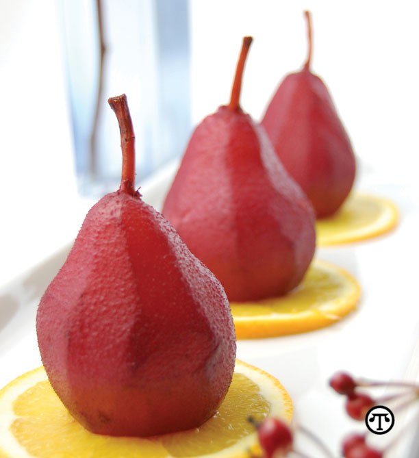Poached Pears in Grape Juice