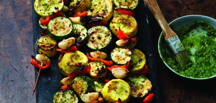 Grilled Garlic and Summer Squash Skewers with Chimichurri